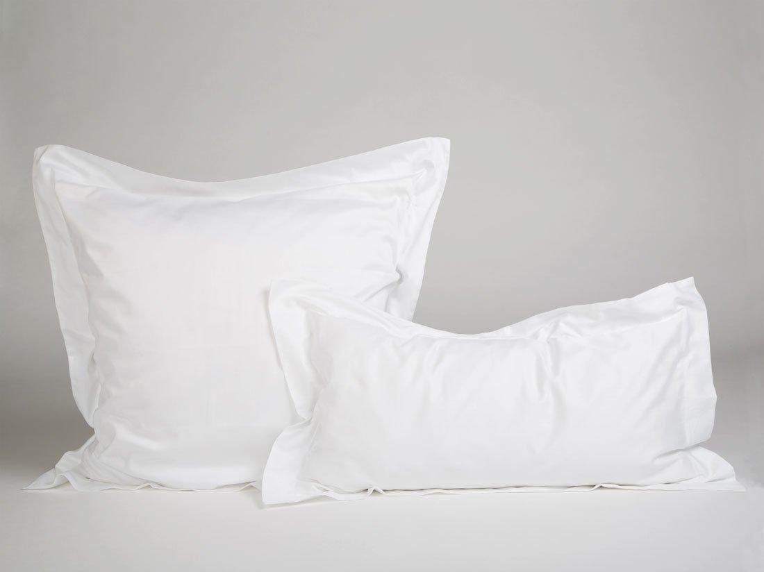 Kissenbezug Baumwollsatin Pure White 40x80 (mit Rand)