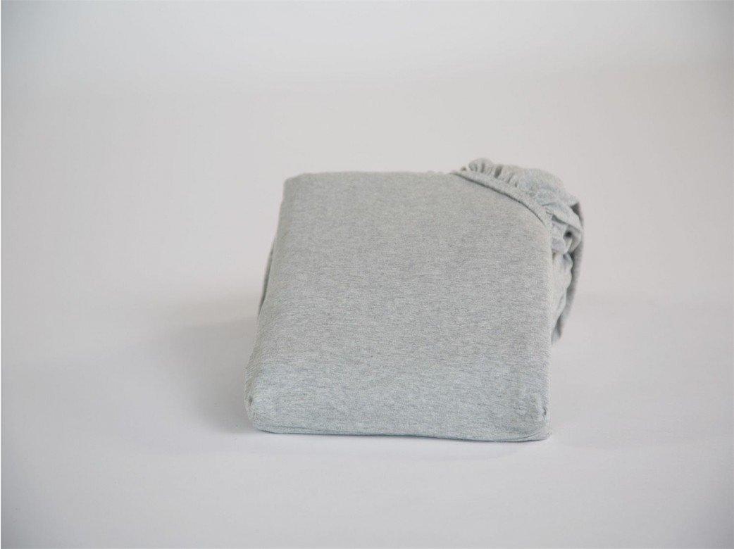 Spannbettlaken Jersey White Grey 200x200x30