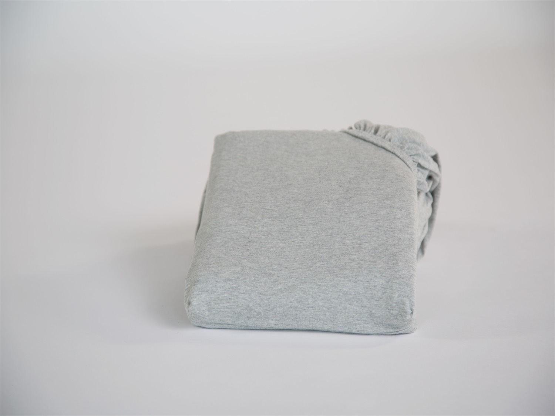 Spannbettlaken Jersey White Grey 90x210x30