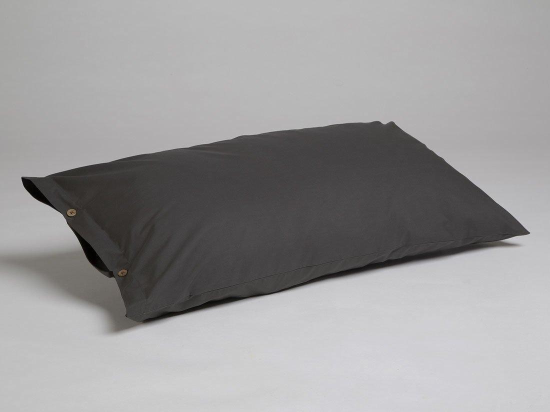 Kissenbezug Perkal Dark Grey 40x80 mit Knöpfen