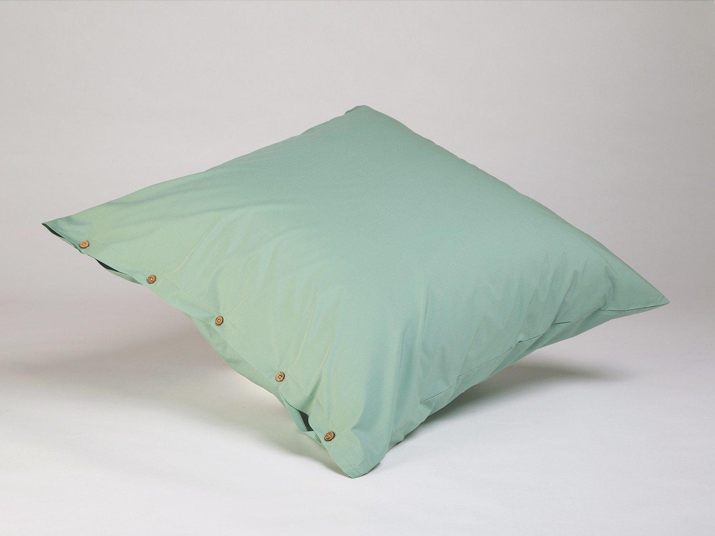 Kissenbezug Perkal Jade Green 80x80 mit Knöpfen
