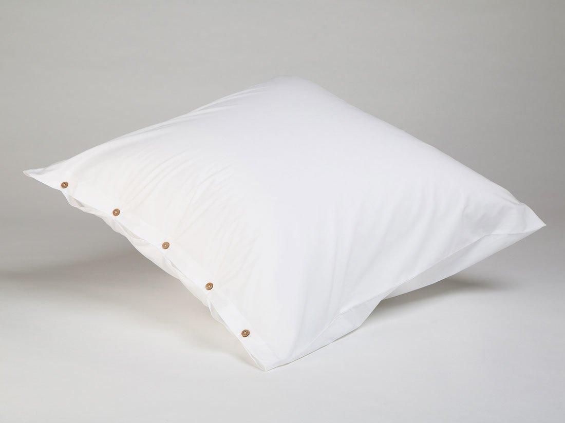 Kissenbezug Perkal Pure White 80x80 mit Knöpfen
